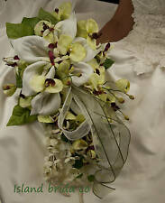 BRIDE WEDDING BOUQUET SAGE GREEN FLOWERS CALLA LILY ORCHID