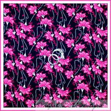 BonEful Fabric Cotton Quilt Black White B&W PINK Flower Dot Panda Garden L SCRAP
