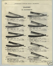 1923 PAPER AD IXL Wostenholm Straight Razor Rare unusual Handle