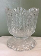 Vintage Avon Fostoria Clear Glass Candle Holder Flowers Diamond Cut