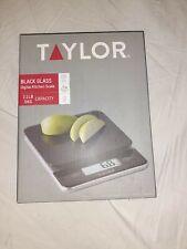 New Taylor Digital Kitchen Scale Black Glass Model 3807BK open box