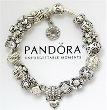 "Authentic Pandora Bracelet Silver with ""Love Story"" Heart European Charms"