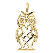 14K Solid Yellow Gold Owl Pendant Bird Diamond Cut Charm