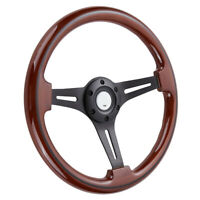 14inch 350mm Walnut Wood Grain Trim Classic Black Spoke Steering Wheel 2'' Deep