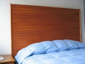 Headboard Queen Size Mahogany Wood Wall-Mounted Nordic Oil Finish Sled Style