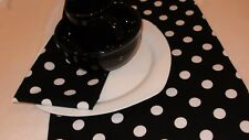 """BLACK AND WHITE POLKA DOTS Table Runner 72"""" L, PARTY WEDDING, BRIDAL, Mickey"""