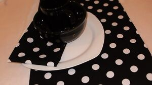 "BLACK AND WHITE POLKA DOTS Table Runner 13x 72"" L, PARTY WEDDING, BRIDAL, Mickey"