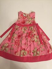 RARE Girl's BABY LULU Red & Pink CHINA ROSE Side Tie DRESS Size 6 Cotton Floral