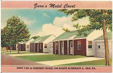 Zurn's Motel Court in Erie PA Postcard