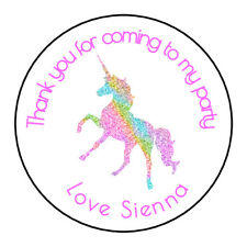 24 Gloss Unicorn Pink Personalised Thank You Stickers Party Sweet Cone Birthday