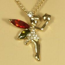 Gold Tinkerbell Fairy Pendant with 16 inch Necklace Lobster Claw Fastener 18kgp