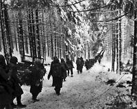 New 8x10 World War II Photo: 289th Infantry Regiment March in Snow, Belgium