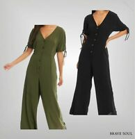 Ladies Brave Soul V Neck Short Sleeve Horn Button Jumpsuit Sizes from 8 to 14