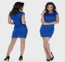 Ladies Cobalt Blue Fully Lined Soft Feel Lace Bodycon Party Evening Dress New