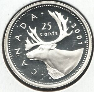 2001 - Canadian Quarter - 92.5 Sterling Silver - Frosted Cameo Proof -Superfleas