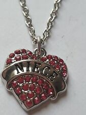 PINK NIECE FAMILY GIFT CRYSTAL LOVE HEART PENDANT RHINESTONE NECKLACE