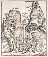 Schedel Weltchronik, Tanz um das Goldene Kalb - Holzschnitt 1493, Graphik Grafik