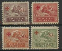 Lot Poland 1921 RED CROSS, mint hinged, 1831