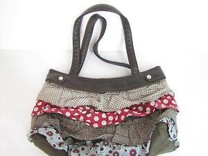Thirty-One Brown Skirt Purse Ruffled
