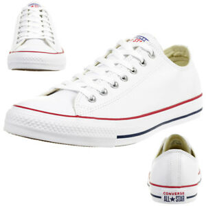 Converse C Taylor All Star Bœuf Chuck Chaussures Baskets en Cuir Blanc 132173C
