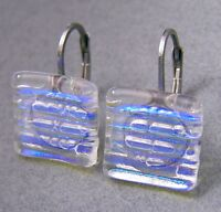 "DICHROIC Glass Earrings Clear Blue Striped Texture Euro Lever Dangle 1/2"" 12mm"