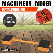 2*6T Machinery Mover Dolly Skate Heavy   Equipment Rubber Surface 6Tx2/26000LBS