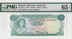 1968 Bahamas $1 PMG65 EPQ <P-27a> GEM UNC