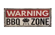 Blechschild WARNING BBQ ZONE Nostalgie Vintage Dekoschild 20x50cm