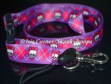 ARGUILE PURPLE/PINK CHIC SKULL W/BOW PRINT LANYARD CELLPHONE & KEYCHAIN HOLDER