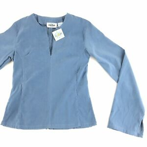 y2K Delilah Fitted Blouse Top Junior's Size Medium Blue Bottom Back Zipper NWT