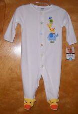 CARTER'S Sz 6M Sleep & Play Easy Entry Pajamas Giraffe Elephant Frog BABY BOY