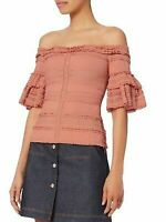 Cinq A Sept Naya  Mulberry Pink Stretch Lace Off The Shoulder Top SZ M