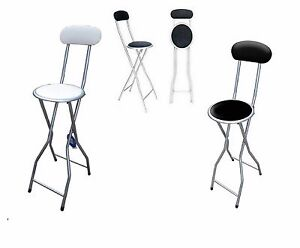 LIGHT WEIGHT FOLDING BREAKFAST STOOL HIGH CHAIR PADDED ROUND SEAT HOME OFFICE