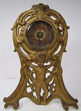 Antique 19c Cherub Scrollwork Clock orig old gold bevel edge glass Pat Applied