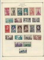 france 1935-1940 mounted mint & used stamps sheet ref 17758
