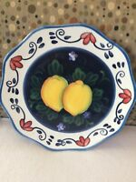 """Beautiful Limonebello Hand Painted Plate by Ambiance Collections 10"""" Scalloped"""