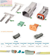 Deutsch 2-Pin Connector (3 Set) Housing, Pins & Seals Crimp Terminals,14-16 AWG
