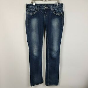 Silver Jeans Aiko Mid Rise Baby Boot Cut Womens Dark Wash Jeans Size 30x35