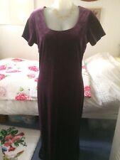Vintage Laura Ashley Stretch Maxi Evening Dress Purple Velvet Size M 14-16 GOTH