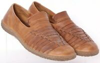 Born M8273 Brown Leather Slip-On Woven Fisherman Loafer Shoes Men's US 11