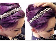 Head Piece Silver Crystal Boho Hair Band Headwear Headband Embroidered Hippy UK