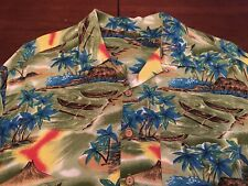 Vintage 1960's Hawaiian Shirt Loop Collar Rayon Volcano, Boats, Huts Xl