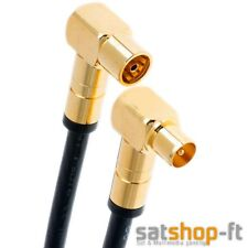 0,5m Antennenkabel Schwarz Digital TV Kabel 135db Koax 90° Stecker Buchse 4K HD+
