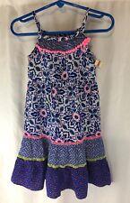 New Cherokee Blue Pink Peasant Sun Dress Baby Girl SZ 18 months Free Ship (BB&)