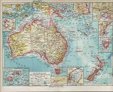 Landkarte map 1924, AUSTRALIEN MELANESIEN UND NEUSEELAND. australia new zealand