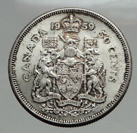 1959 CANADA - SILVER 50 Cents Old Coin UK Queen ELIZABETH II Unicorn Lion i62883