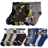 3 Pairs Kids Boys Design Crew Socks Size Age 6-8 Toddler Casual Sport Comfort US