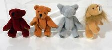 Cute Lot of 4 Vintage Miniature Mohair Hand Made Animals Bear Lion Elephant