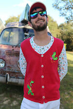S Small UGLY Christmas Sweater Party Knit Funky Mistletoe Vest Mens Womens