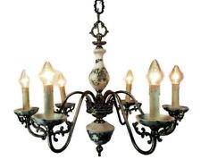 Vintage Italian Porcelain Brass Chandelier Ornate 6 arm Lights Mid Century
